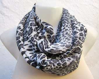 Leopard Pattern Scarf, Animal Infinity Scarf, Chiffon Tube Loop Scarves, Circle Accessories, Shawl, Neckwarmer  Necklace, Cowl Scarf