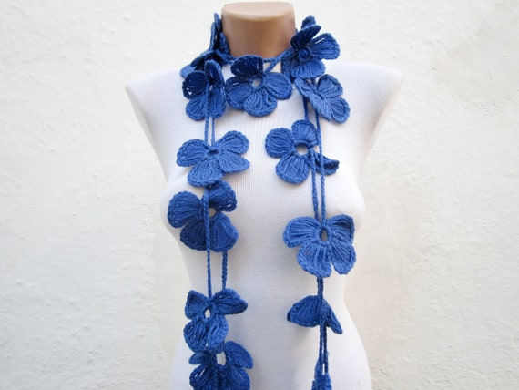 Hand crochet Lariat Scarf  Blue  Flower Lariat Scarf Long Necklace Holiday Accessories