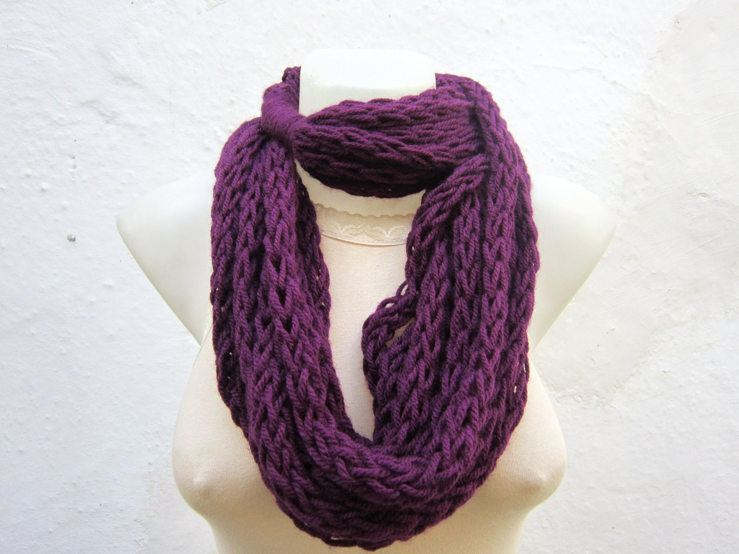 knitting scarf finger knitting scarf infinity scarf chain