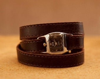 Brown leather wrap watch, interchangeable bracelet  - the Twist