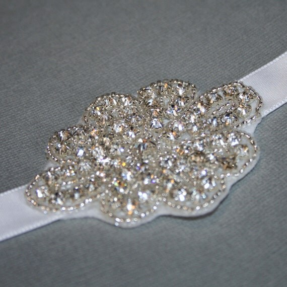Rhinestone Crystal Headband - White Ribbon Headband - Ready to ship
