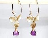 February birthstone earrings, Grade AA Amethyst drop orchid 14K gold filled hoop earrings