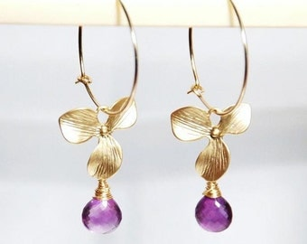 February birthstone earrings, Grade AA Amethyst drop orchid 14K gold filled hoop earrings