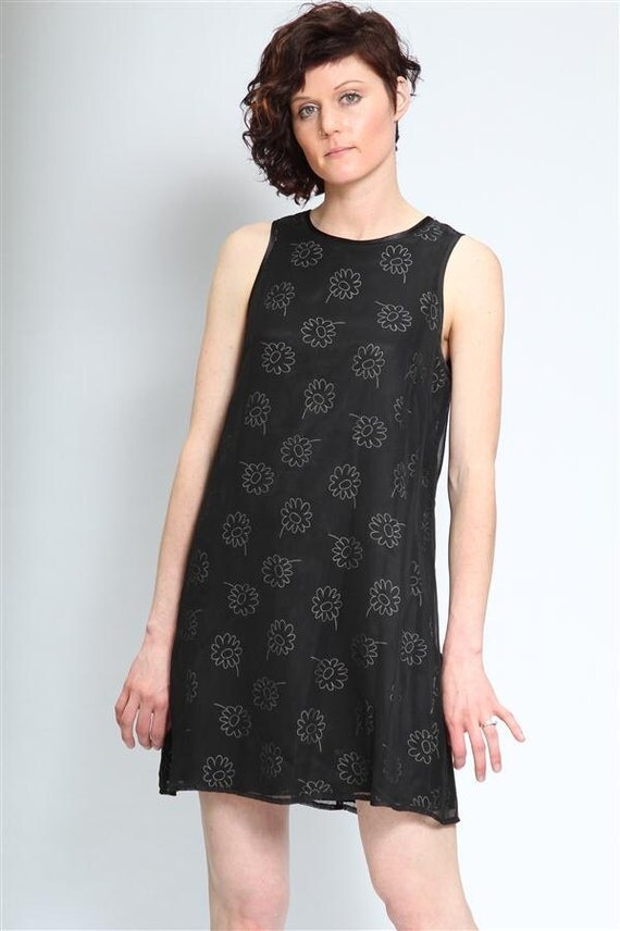 Vintage 90's Dress, Black, Floral Print, Size Small, Sleeveless, Hipster, Dressy Dress, Shift Dress, Tumblr