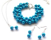Turquoise Blue Pearl Jewelry Set, Cluster Bracelet, Necklace, Earrings, Bridal Jewelry
