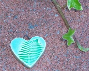 Ceramic Heart Pendant Charm fern green