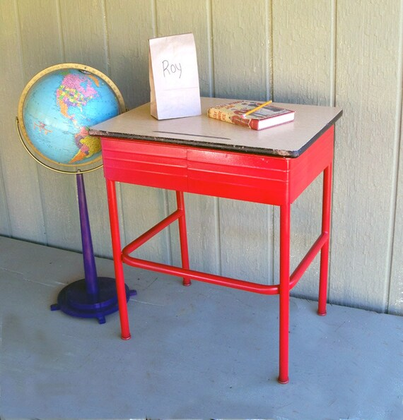 Mid-Century School Desk - Red Metal with Flat Top  - Unique Little Side Table