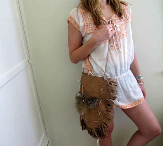 Vintage Suede Purse Indian Native American Style Fringe Feather Bag
