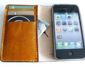 iphone 5 / 5S / 5C / 4S wallet with silicone case in Hand dyed Antique TAN (Free Monogramming)