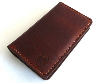 Hand Stitched iPhone Wallet in Pebble Textured Oiled TAN (Free Personalization)