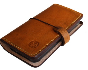 iPhone Leather Wallet in Hand dyed colors with silicone case (Free Personalization)