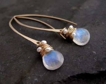 Rainbow Moonstone and Pearl Hoops