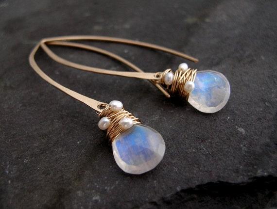 Moonstone and Pearl Hoop Earrings