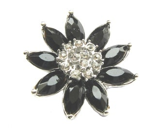 5 Jet Black Flower Crystal Rhinestone buttons - Wedding Hair Accessories, Shoe Clips, Ring Pillow, Bouquet RB-111 (30mm or 1.2 inch)