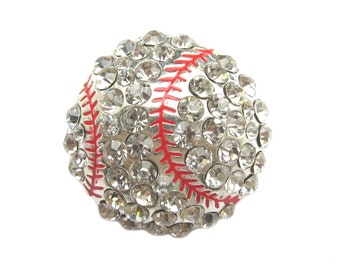 2pc or other quantity Baseball Crystal Rhinestone Sport Buckle - Shoe Clips, Baseball Cap, Sport Slider, Flipflop BUC-015 (30mm or 1.2inch)