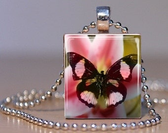 Brown and Pink Butterfly on a Lily - Pendant or Lapel Pin on an Upcycled Scrabble Tile (022B1)
