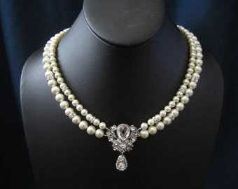 ROSE double strand wedding, bridal jewelry, wedding necklace, bridal necklace, swarovski pearls rhinestones brooch