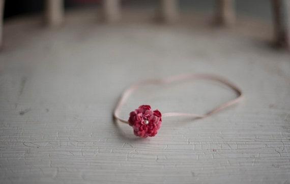 Mini Raspberry Pink Flower Headband