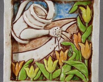 Caramic Tulip Garden Art Tile -White Multi, 4 x 4 Handmade Ceramic Tile, Wall Art