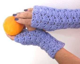 Lacy Openwork Lilac Fingerless Gloves in Crochet, Gauntlets, Mitts, Fingerless Mittens-READY TO SHIP