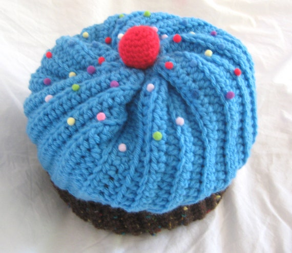Bright Blue Cupcake Hat With Chocolate Cake