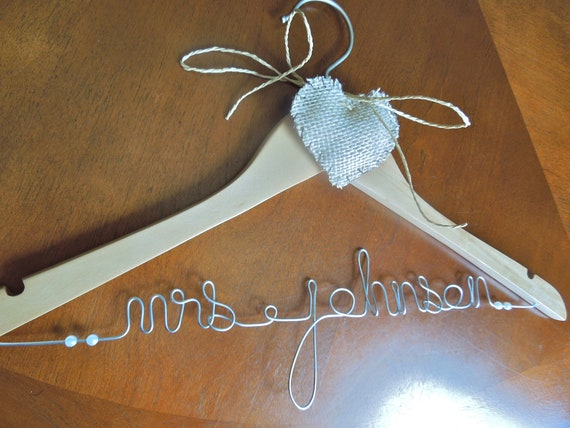 Personalized wedding  hanger with burlap heart