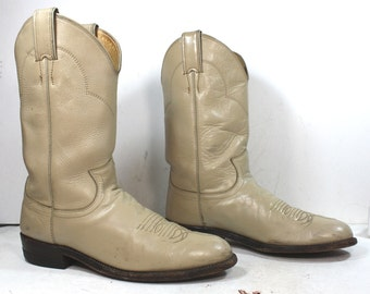 Vintage Justin Roper cowboy mid calf womens tan cream cow boy cow girl Leather western fashion boots 7.5 B M