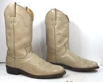 Vintage Justin Roper cowboy mid calf womens tan cream cow boy cow girl Leather western fashion boots 7.5 B M