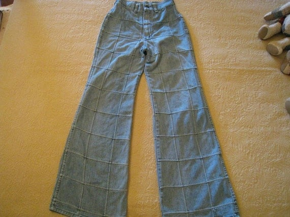 Bell Bottom Vintage 1980s Window Pane Blue Jeans
