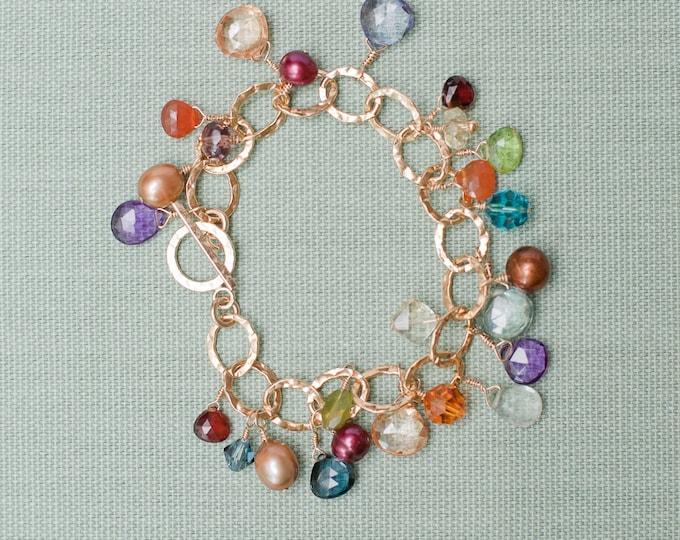Gemstone Charm Bracelet: London Blue Topaz, Carnelian, Amethyst, Garnet, Citrine, Peridot, Freshwater Pearls and Swarovski