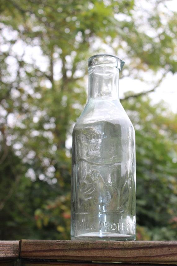 Vintage Style Glass Milk Bottle Old By Designsbyembellish