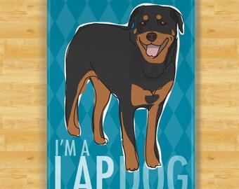 Rottweiler Refrigerator Magnet - I'm A Lap Dog - Rottweiler Gifts Dog Fridge Refrigerator Magnet