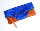 Blue Skies Zippered Foldover Pouch Clutch Purse