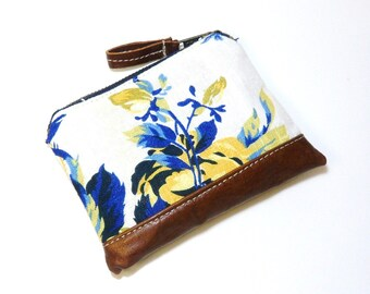 Floral Linen Leather Zipper Pouch, Linen Card Holder