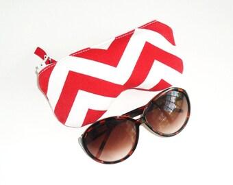 Eyeglass Case, Sunglasses Pouch, Sunglasses Case, Zippered Eye Pouch, Red/White Chevron