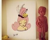 "Pink Hair (8x11"" digital illustration print)"