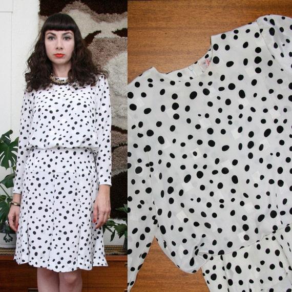 Vintage 80s 90s Printed Jaquard Dress Small