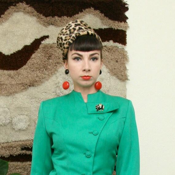 Vintage 60s Leopard Print Faux Fur Hat