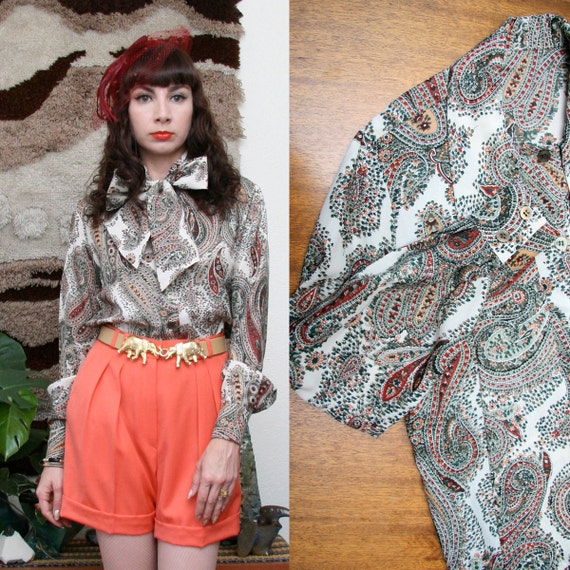 Vintage 70s 80s Paisley Print Blouse w/ Ascot Tie Medium-Large