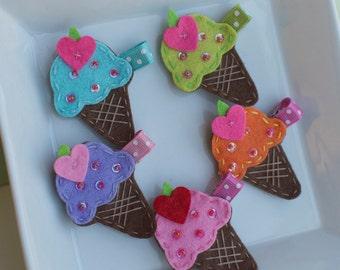 Felt Ice Cream Cone Hair Clip- Pink, Aqua, Green, Orange, or Purple