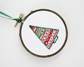 """Red and Green Simple Modern Christmas Tree 3"""" Embroidery Hoop Holiday Ornament in Traditional Red and Green"""