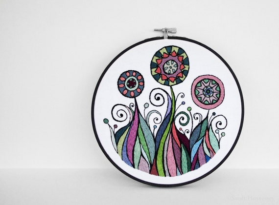 Embroidered Flower Garden in Rainbow Colors with Black Outlines, 7 inch Hand Embroidery Hoop Wall Art by SometimesISwirl