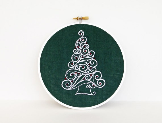 "Embroidery Hoop Swirl Christmas Tree with Red Ornaments - Holiday Decoration 6"" Hoop Wall Art - Hand Embroidered"