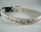 Hemp Dog Collar - Take Me Out to the Ball Game baseball - 3/4in