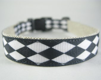 Hemp Dog Collar - Black and White Diamonds - 3/4in