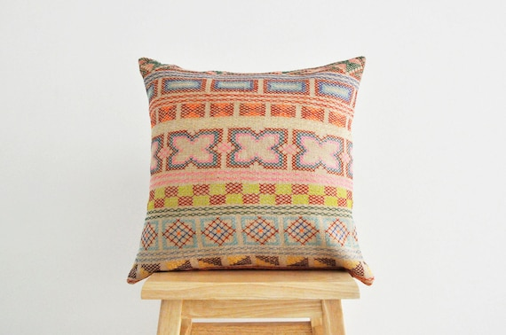 Beige Thani Hand- stitched tribal cotton pillow cover
