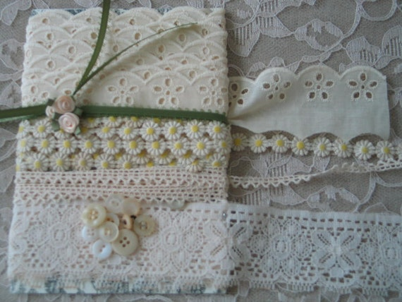 ECRU, IVORY, ANTIQUE, Lace Kit, And Daisy Trim, 9 Yards, Embellishments, Gorgeous.