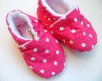 Pink Polkadot Girl Baby Booties with Fleece Lining