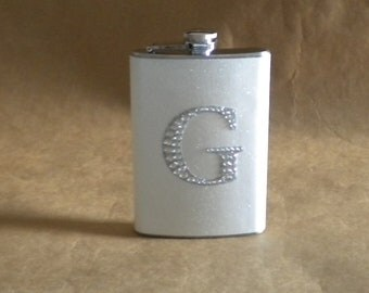 White or ANY Color Sparkly with ANY Rhinestone Initial 8 ounce Stainless Steel Girly Flask KR2D 5990