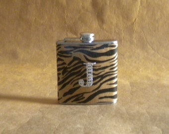 Personalized Gift Flask Black and Kraft Zebra Print 6 Ounce Flask with ANY Rhinestone Initial KR2D 6057